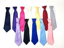 Young Boys Toddlers Elasticated Satin School Wedding age 2 - 7 Years Plain Tie