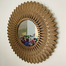 Large Vintage Gold Feathered Wood Frame Home Decorative Round Glass Wall Mirror