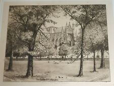 Antique Signed Etching  The Green Westminster E Burrows  in oak frame