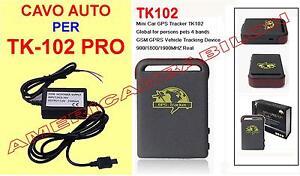 CAVO ALIMENTATORE TRACKER GPS SATELLITARE TK 102 TK102 PRO 12V. CARICABATTERIE