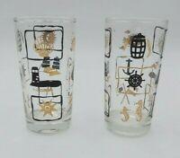 """Set of 2 Vintage Classic Nautical Theme Glasses - 5 1/4"""" Tall - Solid Bottoms"""