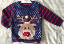 Baby Boys Super Cute Knitted Navy Blue Christmas Jumper ~ Reindeer/Rudolf ~ 6-9m