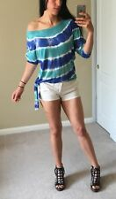 Off Shoulder Crop Blue White Ombre Tie Dye Boho Woman Top Shirt S/M NWT Batwing