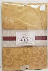 """Fabric Linen Tablecloth 60""""x104"""" OBLONG, DAMASK FLOWERS,GOLD/YELLOW, MADISON, AL"""