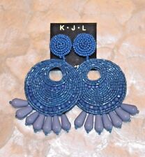 KENNETH JAY LANE Large Gypsy Disc Lapis Blue Clip On Drop Earrings NWT