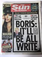 **BORIS JOHNSON PANDEMIC VIRUS UK SUN ON SUNDAY NEWSPAPER 22nd MARCH 2020**