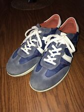 ECCO Men's Navy/White Leather/Canvas Lace Up Casual Sneakers Size 46