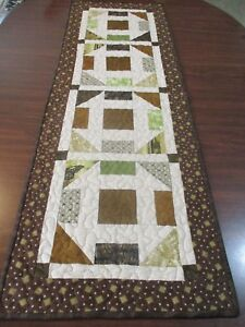 """Hand Made Quilted Table Runner/ Topper / Mat ~ Churn Dash ~ 14.25"""" x 43"""""""