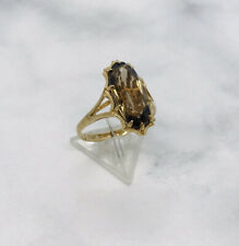34 year old 1986 Ladies 9ct yellow gold Smoky Quartz ring 2.8 grams size O Boxed