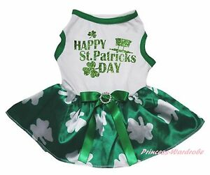 Happy St Patrick Day Hat White Top Clover Green Skirt Pet Dog Puppy Cat Dress