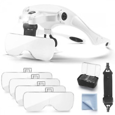 Dicfeos Headband Magnifier with LED Light Head Mounted Magnifying Glasses for 5