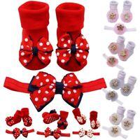 Baby Infant Socks+Hair Belt Toddler Girls Bow Wave Point Flower Anti-slip Socks
