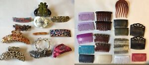 Lot of 12 hair clips and barrettes plus 19 combs – great condition, variety