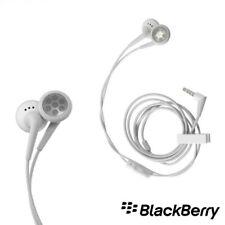 White Genuine BlackBerry Headset Headphone Hands free 3.5 mm Strait Plug