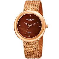 Women's Akribos XXIV AK903RGBR Diamond Hour Marker Rose Gold Steel Mesh Watch