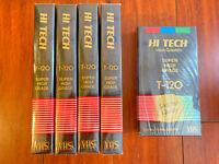 Lot of 5 Hi Tech T-120 6 Hours VHS Tapes NEW SEALED Blank Video Cassette HQ VTG