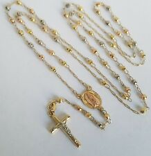 """14k Yellow Gold Rosary 3 mm Beads virgin Mary crucifix Jesus Cross Necklace 26"""""""