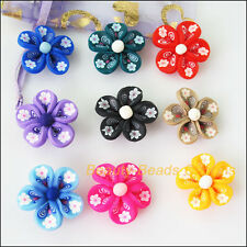 6Pcs Mixed Polymer Fimo Clay Star Flower Spacer beads charms 25 mm