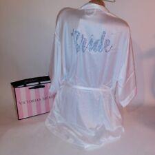 Victoria Secret Robe Bride Bridal Collection One Size White Blue Satin Feel