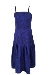 True Vintage 80's Royal Blue Drop Waist Cocktail Dress Size 14 to Fit 12.