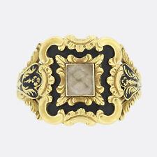 Georgian 1830s Hair Locket Black Enamel Mourning Ring 18ct Yellow Gold
