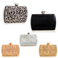 Ladies Diamante Flower Box Clutch Bag Wedding Evening Bag Prom Handbag KL2458