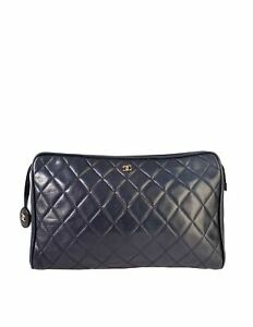 Chanel Vintage Navy Blue Matelasse Quilted Lambskin Leather Clutch Bag