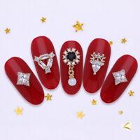 3/5Pcs Nail Art Rhinestones Red Black Gold Metal Rivet Beads 3D Decorations