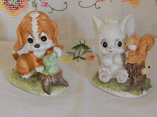 Cat And Squirrel And Dog And Frog Figurine 3 1/2""