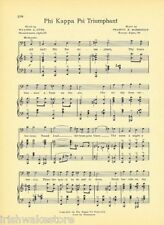 "PHI KAPPA PSI Fraternity Vintage Song Sheet c1941 ""Triumphant"" Original"