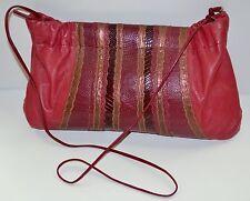 Vintage Carlos Falchi snakeskin, lizard and cowhide red leather shoulder bag.