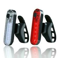 COB USB Rechargeable LED Bicycle Bike Cycling Front Light 6 Rear Lamp Tail E5D1