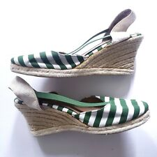 Montego Bay Club Green & White Striped Canvas Espadrille Sandals Size 10