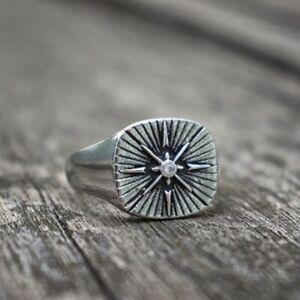 Ring Minimalist Silver Stainless Steel Polaris Star Signet Simple Mens Jewelry