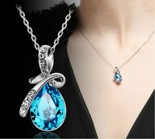 Fashion Rhodium Plated Blue Austria Crystal Stone Chain Necklace Pendant Jewelry