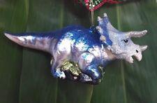 "Dinosaur blown glass Blue Triceratops Christmas Ornament 3 1/4 "" T × 6 1/2 "" L"