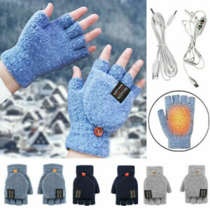 Winter Electric Rechargeable Mitten Heated Gloves Full&Half Finger Warmer USB Q*