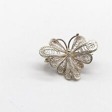 Butterfly Costume Jewellery Pin Brooch Vintage Ladies Solid Silver Filigree