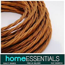 Vintage Style COPPER twisted fabric braided 3-Core 0.75mm² Electrical Lamp Cable