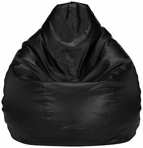 Bean bag Cover Leather Sofa Chair without Bean Black Luxuries Home Decor Gift