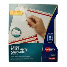 Avery 8 Big Tab Print Amp Apply Clear Label Dividers 11493 5 Sets Per Package