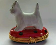 Pierre Arquie Limoges West Highland Terrier Westie Standing on Oval Trinket Box
