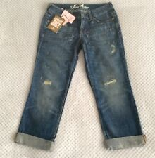 "New Women's Juicy Couture 3/4 Cropped Boyfriend Roll-up Stone-washed Jeans 27""W"