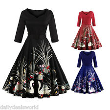 ZAFUL Black & Swan Rockabilly Vintage Floral Party Dress Swing 50s Retro Plus