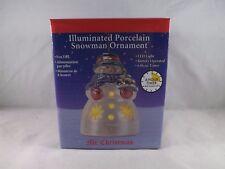 Mr. Christmas Illuminated Porcelain Ornament - New - Snowman