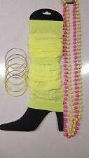 80's Fluro Mix - YELLOW Leg Warmers, Bangles and Beaded Necklaces.