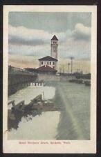 POSTCARD SPOKANE WA/WASHINGTON GREAT NORTHERN RAILROAD DEPOT CLOCK TOWER 1907