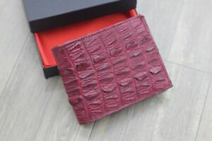 Plum Red Genuine Crocodile Alligator Leather Wallet Men's Bifold