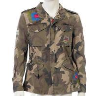 Giacca Uomo BOB Company Militare Camouflage Cotone Ricamata Fiori Army NUOVA