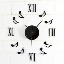 Wall Clock Black Music Note Mirror Surface Diy Sticker Home Office Decoration